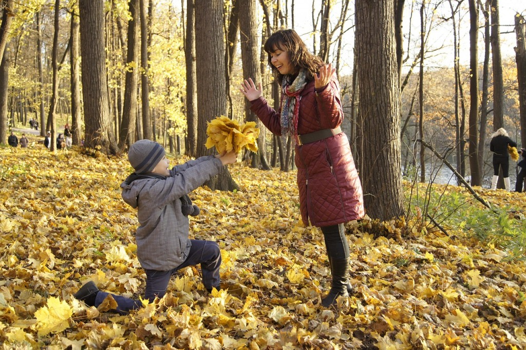 Mother & Son playing in the fall in Newburyport, MA
