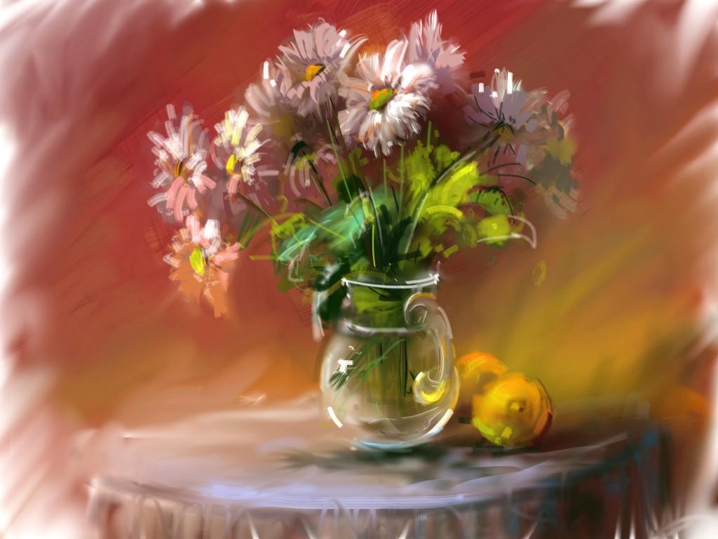 Flowers in Vase Painting at Artwalk in Newburyport, MA