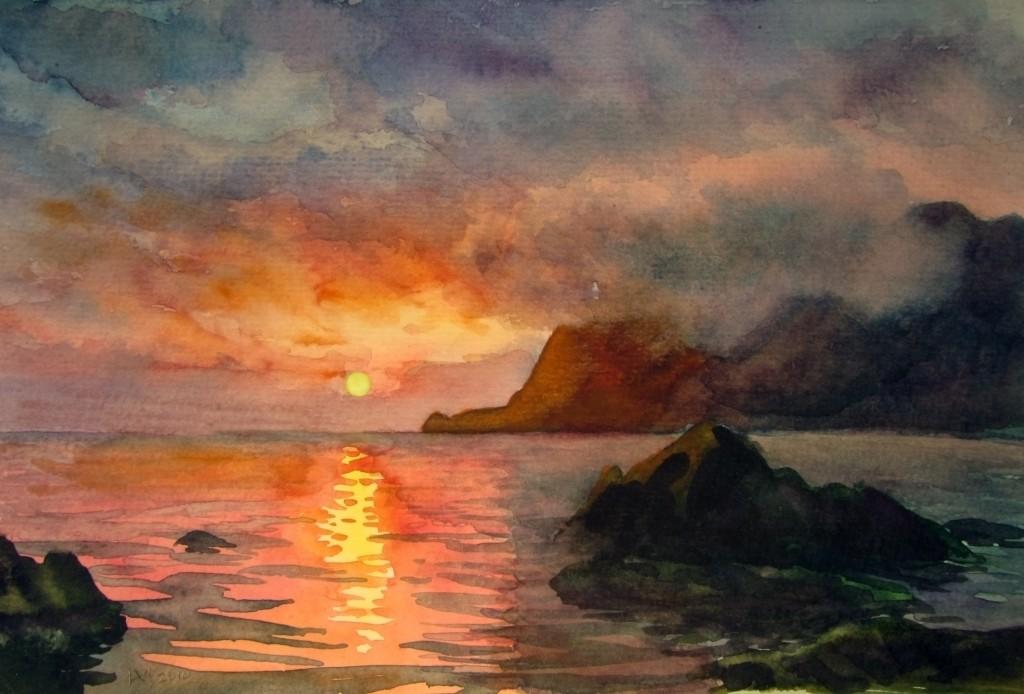 Painting of Sunset over Ocean at Artwalk in Newburyport, MA